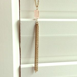 ENVIOUS Pink Crystal Lariat Necklace in Gold